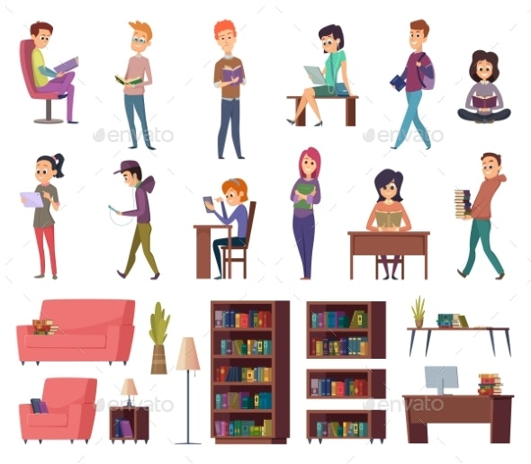 Students with Books - People Characters
