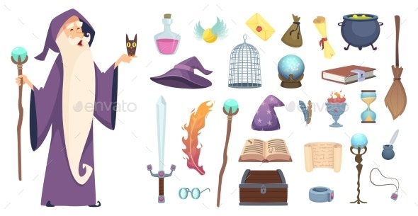 Magician Tools and Wizard - People Characters