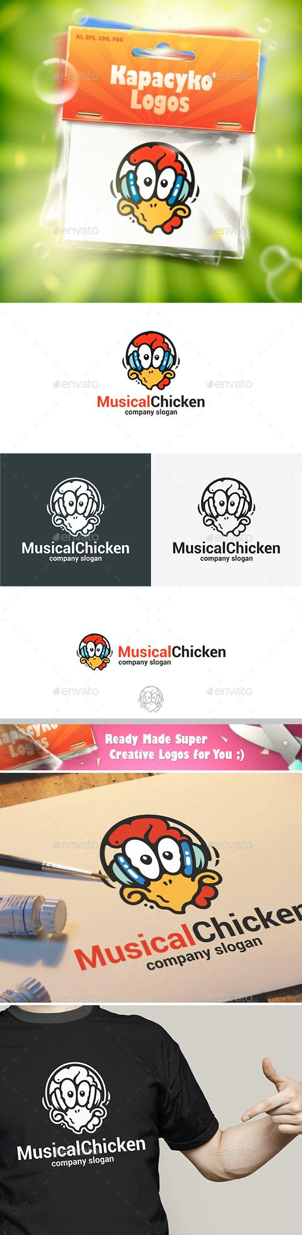Musical Chicken in Headphones Logo - Animals Logo Templates