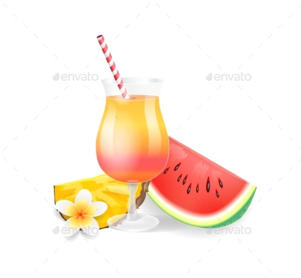 Cocktail in Glass Watermelon Vector Illustration - Food Objects