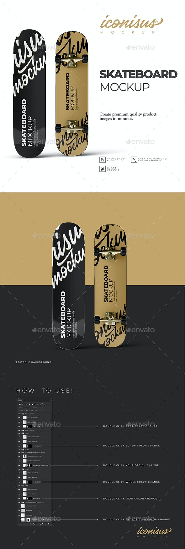 Skateboard Mock-up Template - Miscellaneous Product Mock-Ups