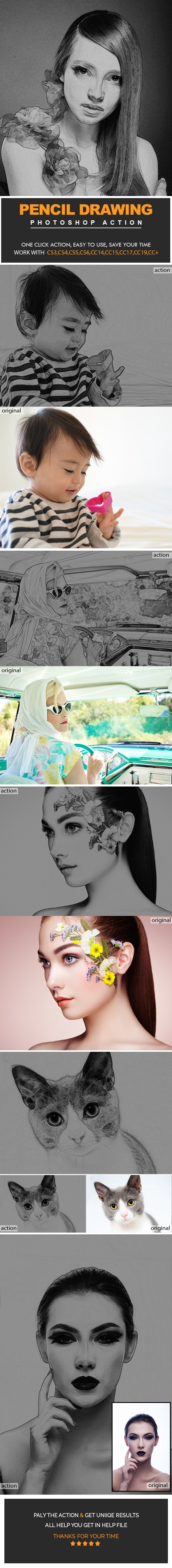 Pencil Drawing Photoshop Actions - Photo Effects Actions