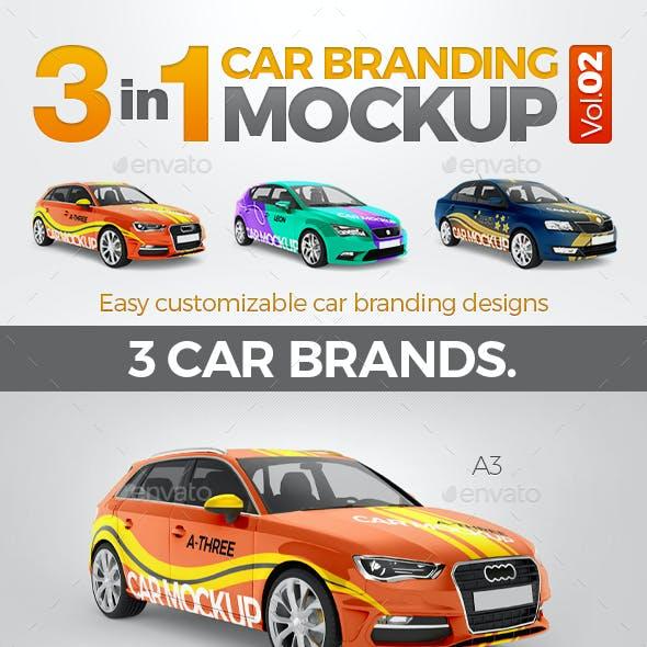 3in1 Car Branding Mock Up Vol.02