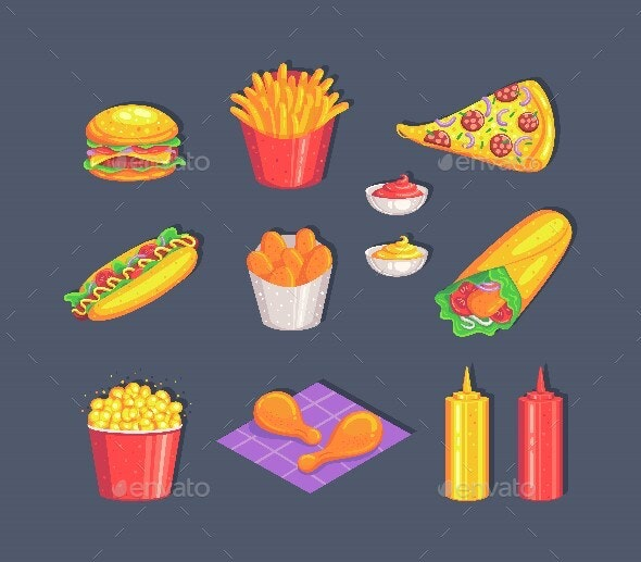 Colorful Fast Food Set Isolated On Gray Background. - Food Objects