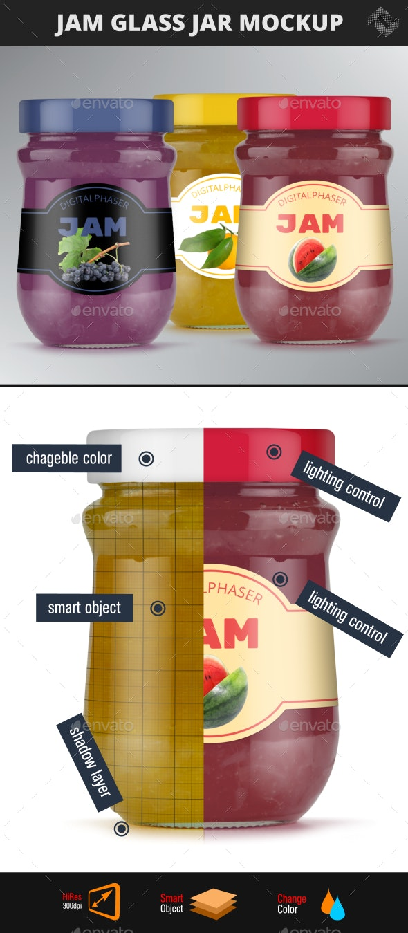 Jelly Jam Honey Jars Mockup - Packaging Product Mock-Ups