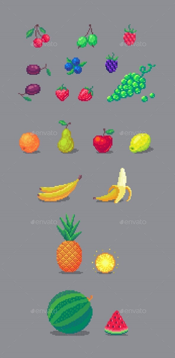 Pixel Art Fruits And Berries Set. - Food Objects