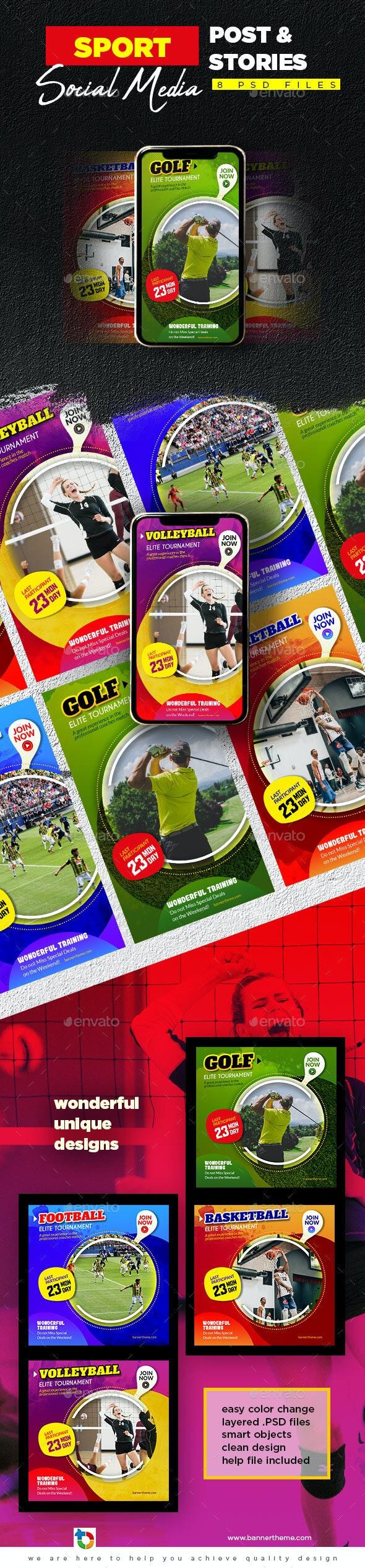 Sport Social Media Post & Stories - Social Media Web Elements