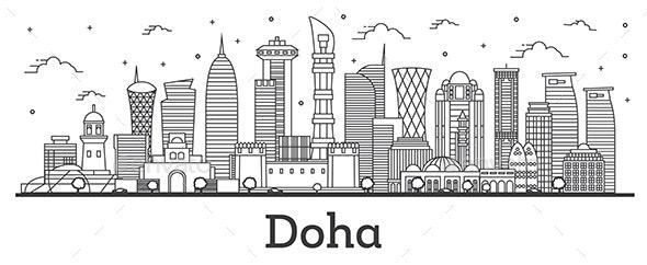 Outline Doha Qatar City Skyline - Buildings Objects
