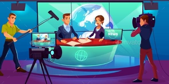TV Studio Reporting News - People Characters