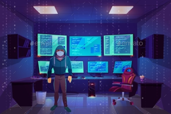 Hacker in Server Room with Multiple Computer Monitors - Computers Technology