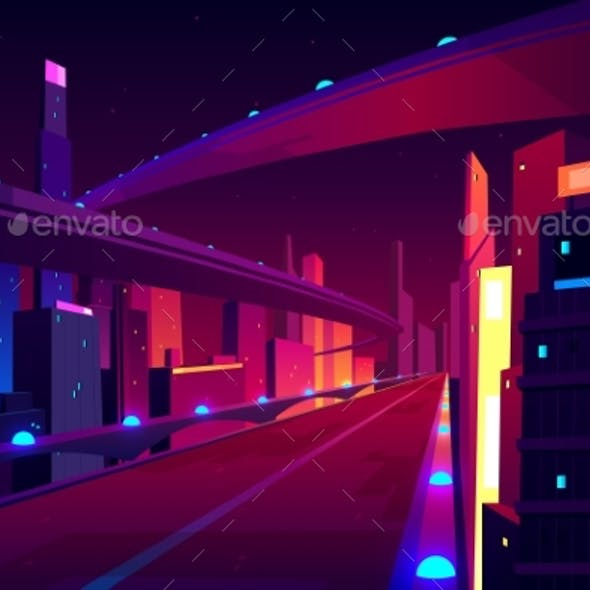 Night City Road Empty Streetscape Freeway Highway