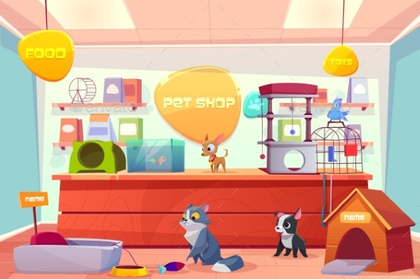Pet Shop with Home Animals - Animals Characters