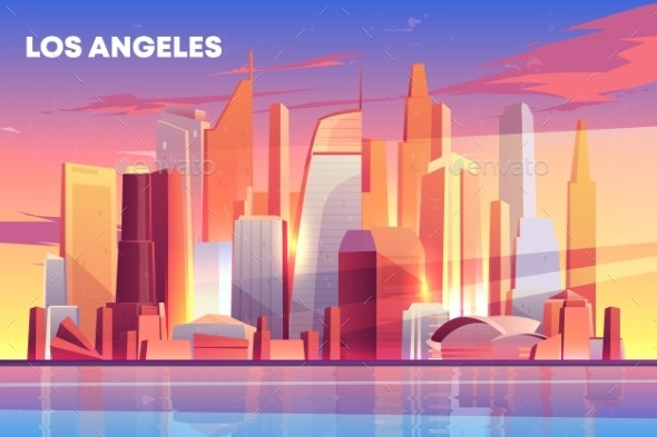 Los Angeles City Skyline Architecture Waterfront - Buildings Objects