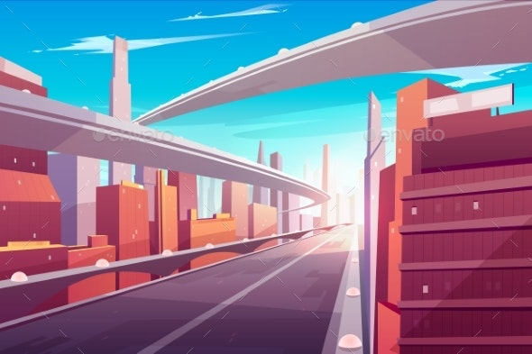 Empty Two-Lane Highway with Bridge - Buildings Objects