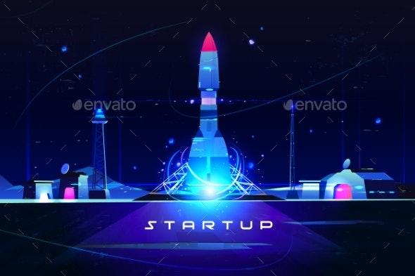 Startup Rocket Launch of Business Marketing Idea - Technology Conceptual