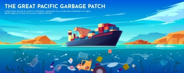 Pacific Ocean Plastic Garbage Patch Banner - Landscapes Nature