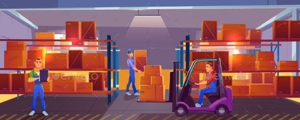 Logistics Warehouse Interior with Workers Inside - Industries Business