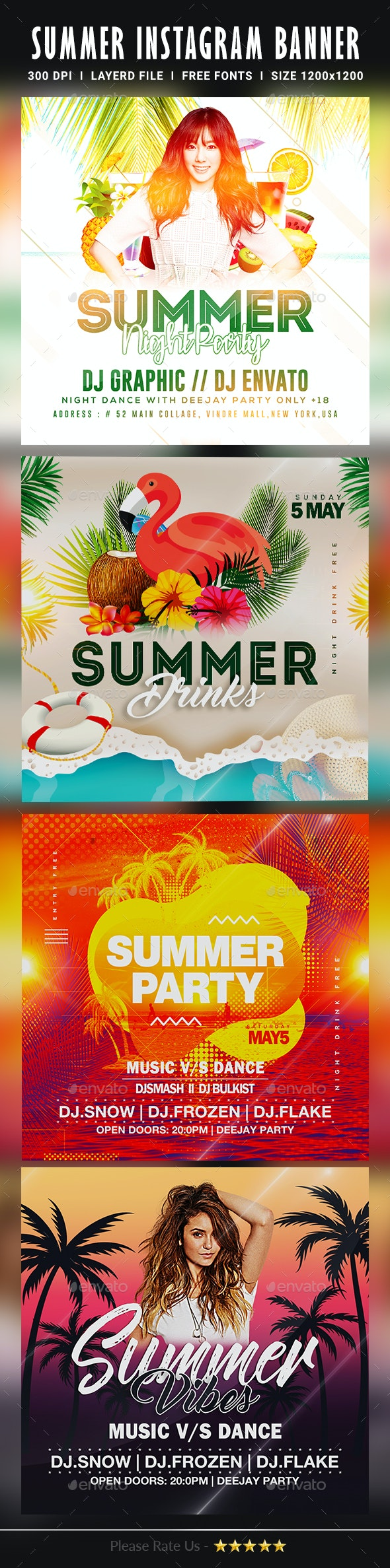 Summer Instagram Banners - Banners & Ads Web Elements