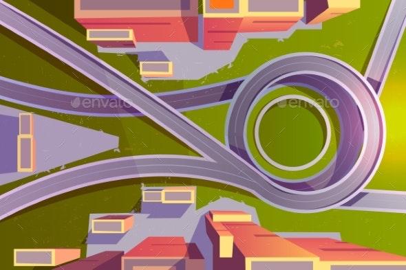 Top View Transport Interchange in City Empty Road - Buildings Objects