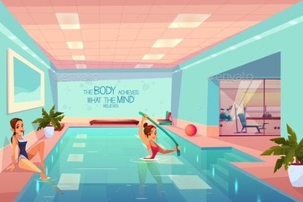 Women in Swimming Pool Relaxing Aqua Aerobics - Sports/Activity Conceptual