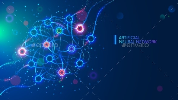 Artificial neural networks, ANN, connectionist systems. AI. Artificial intelligence. Science concept - Backgrounds Decorative
