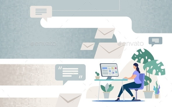 Online Communication in Business Vector Concept - Backgrounds Business