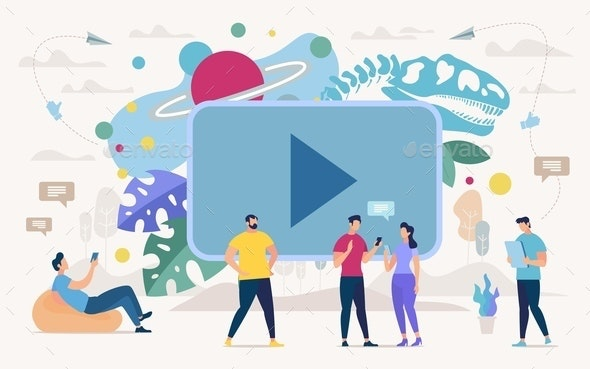 Online Education with Video Content Vector Concept - People Characters