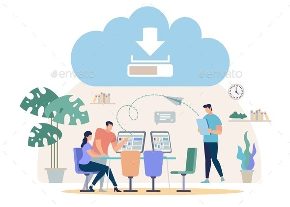 Downloading Files from Online Cloud Vector Concept - Concepts Business