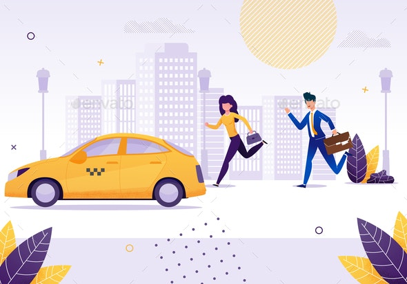 Girl and Businessman Running to Get Yellow Taxi - Miscellaneous Vectors