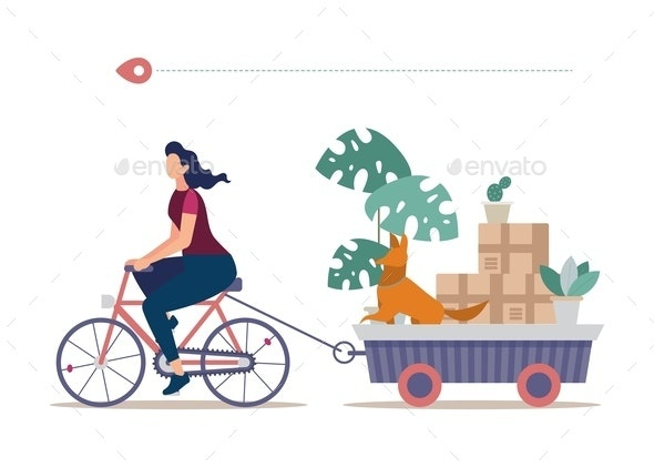 Removing Stuff to New House Flat Vector Concept - Miscellaneous Vectors