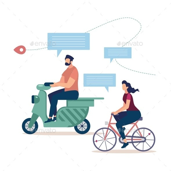 Traveling on Two Wheel Transport Vector Concept - Miscellaneous Vectors