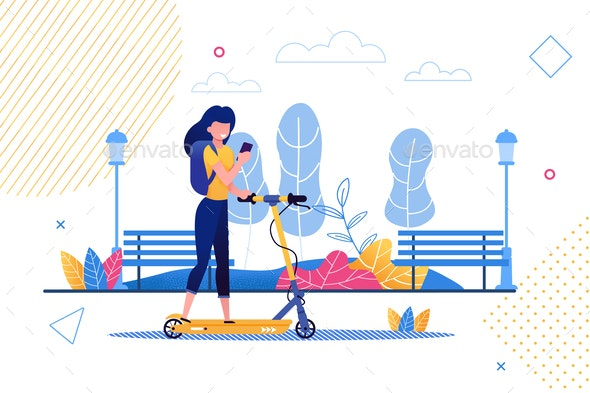 Cartoon Woman Riding Scooter Holding Mobile Phone - Miscellaneous Vectors
