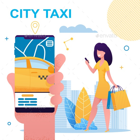 Girl Holding Mobile Phone with City Taxi App - Services Commercial / Shopping