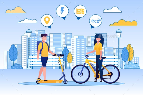Man Riding Scooter and Woman on Bicycle - Miscellaneous Vectors
