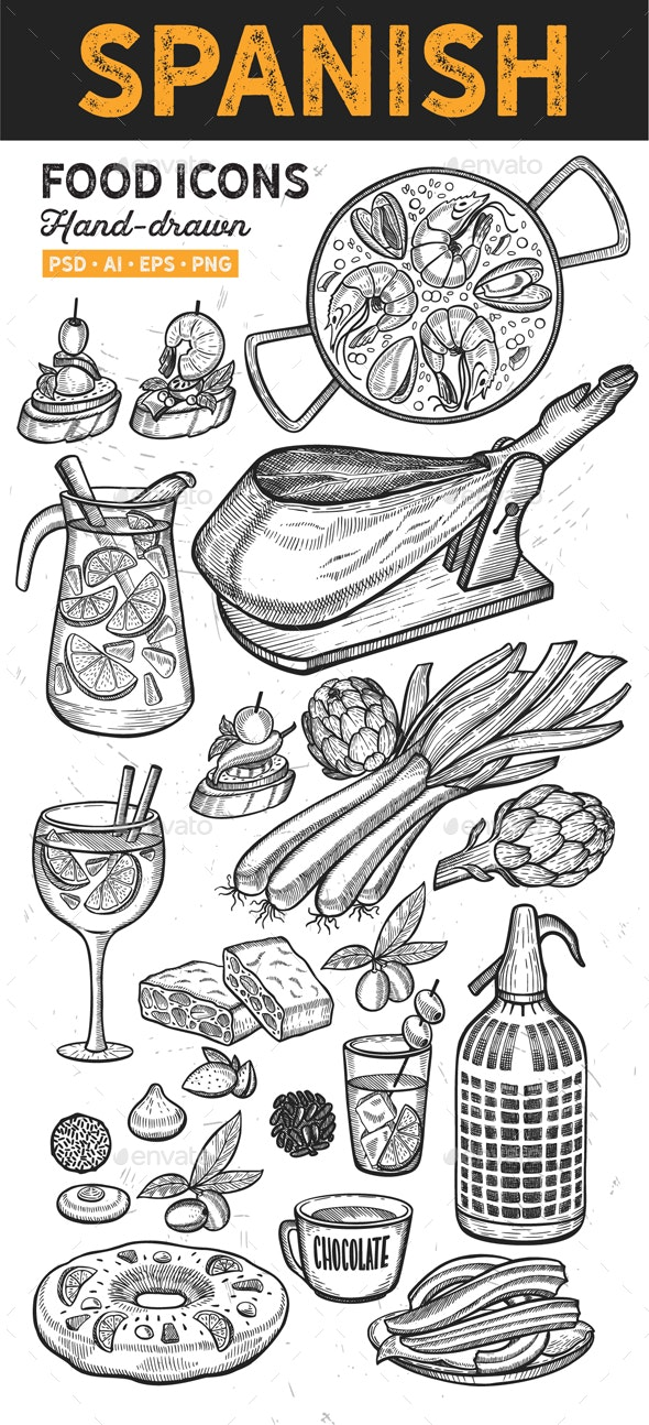 Spanish Food Hand-Drawn Graphic - Food Objects