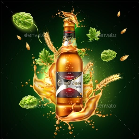 Vector Realistic Beer Bottle Package Ad Splash