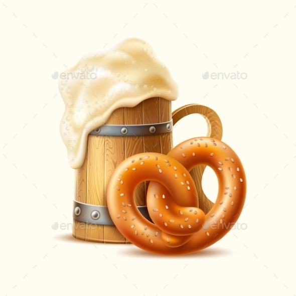 Vector Realistic Wooden Mug with Froth and Pretzel - Food Objects
