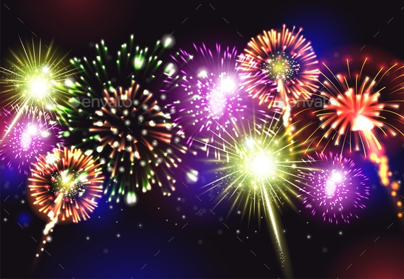 Fireworks Realistic Background - Miscellaneous Vectors