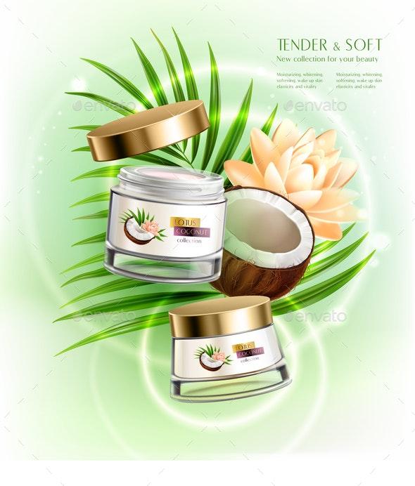 Coconut Cosmetics Realistic Composition - Miscellaneous Vectors