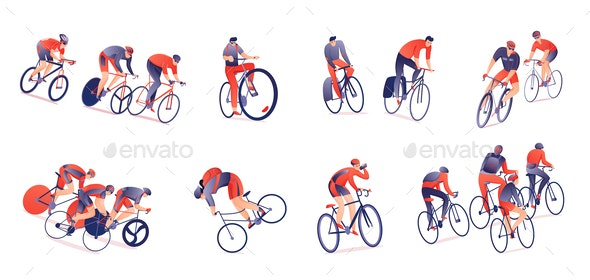 Cycling Tour Horizontal Set - People Characters