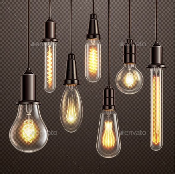 Light Bulbs Realistic Transparent - Miscellaneous Vectors