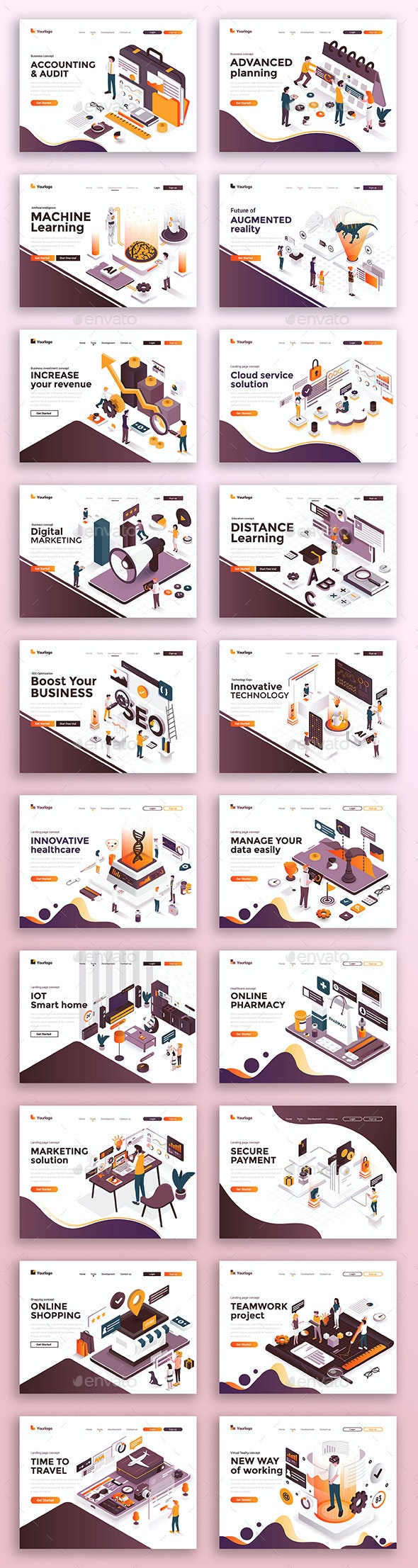 Collection of Landing Page Templates - Miscellaneous Vectors