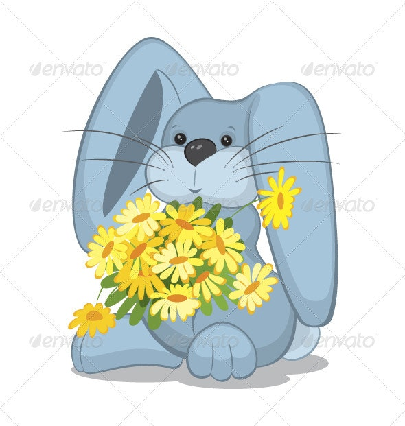 Blue rabbit  with daisy flowers - Characters Vectors