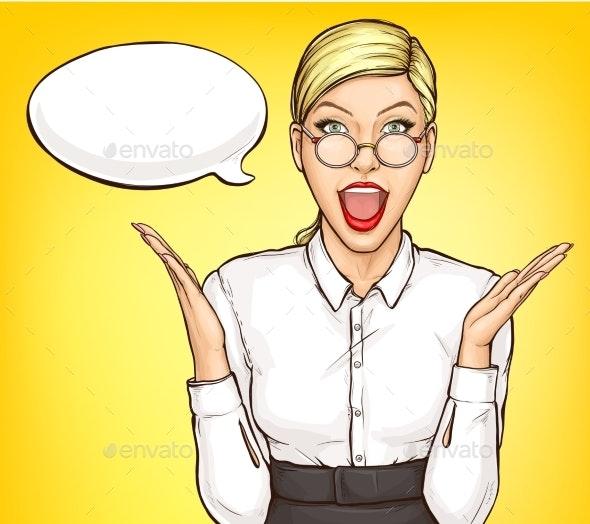 Portrait of Surprised Businesswoman Pop Art Vector - People Characters