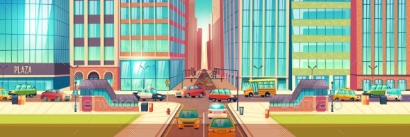 City Roads Intersection Cartoon Vector Background - Buildings Objects