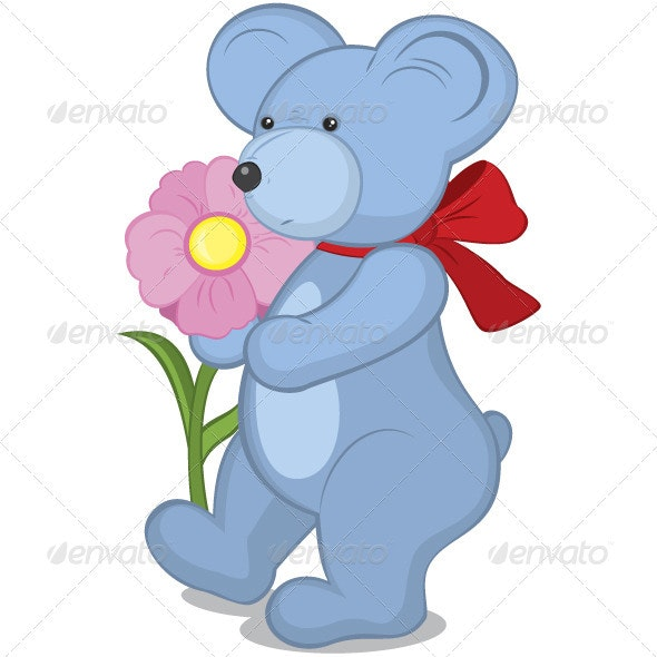 Blue Teddy bear with flower - Characters Vectors