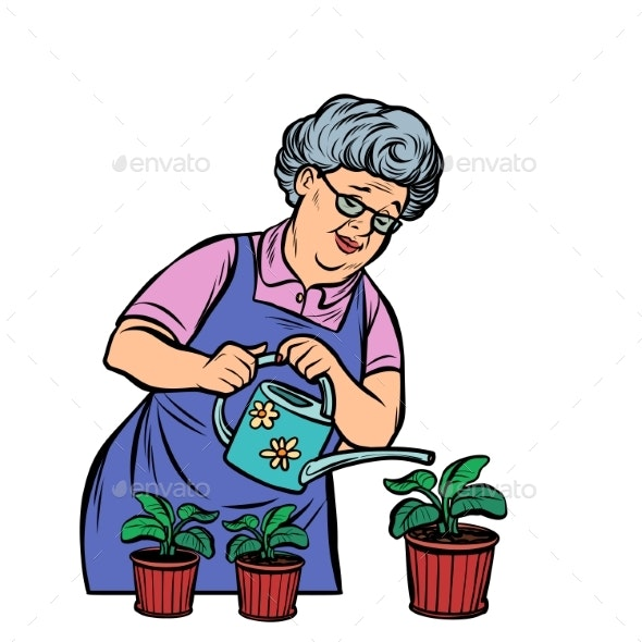 Old Woman Watering Potted Flowers - People Characters