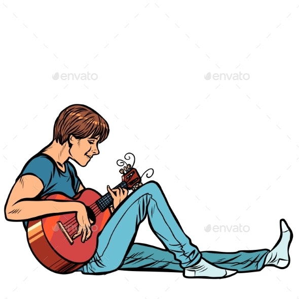 Young Teenager Man Plays Acoustic Guitar - People Characters