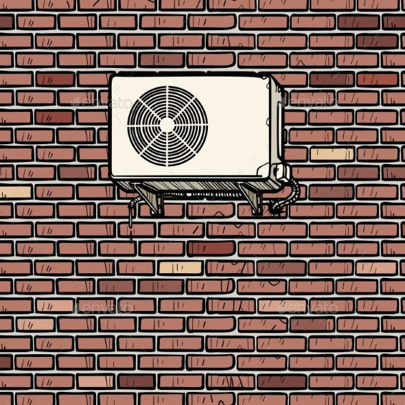Air Conditioning on the Outside Brick Wall - Industries Business
