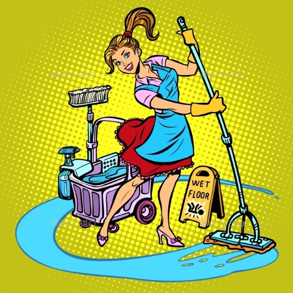 Cleaning Lady Washes the Floor - People Characters